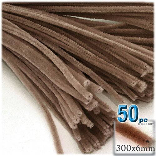 The Crafts Outlet Chenille Stems, Pipe Cleaner, 12-inch (30-cm), 50-pc, Light Brown