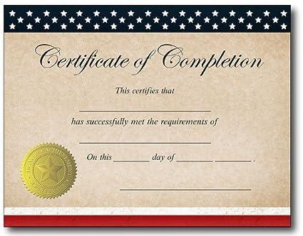 Patriotic Certificate Of Completion Certificates 25