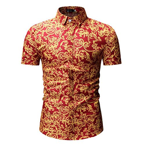 YOCheerful Men's Tops Casual Fit Slim Short Sleeved Shirts Printed Stand Collar Button Shirts Loose Tops Daily Blouses(Red, L) ()
