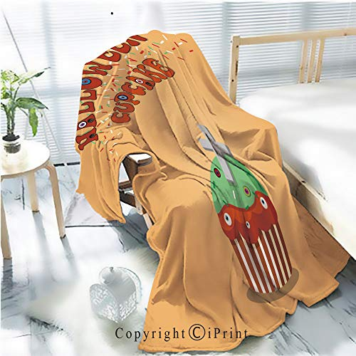 AngelSept Printed Throw Blanket Smooth and Soft Blanket,Cute Happy Halloween Mint Cupcake with Grave Cross and Monster e for Sofa Chair Bed Office Travelling Camping,Kid Baby,W31.5 x H47.2 ()