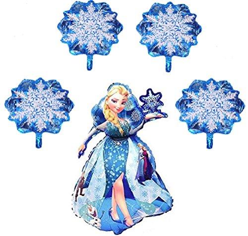(Disney Princess Frozen Birthday Party - Queen Elsa Helium Balloon Bouquet - Winter Theme Snowflakes Balloons - Bundle by Jolly Jon ® (XL Elsa / 4)