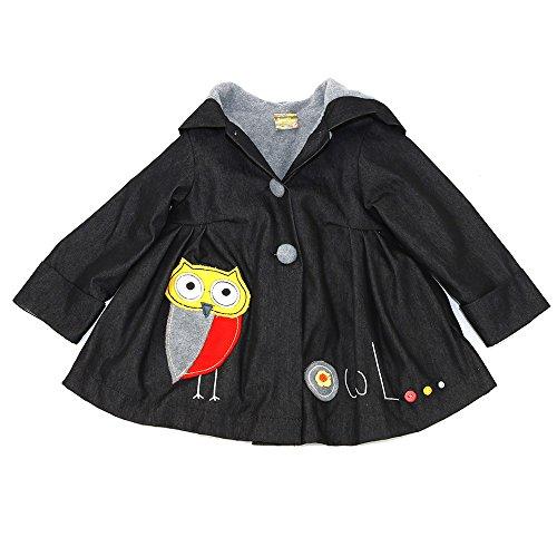 Maria Elena - Toddlers & Girls JAMIE'S OWL Patchwork Denim Swing Jacket Fleece Lined   Black Denim -Steel Gray Size 5