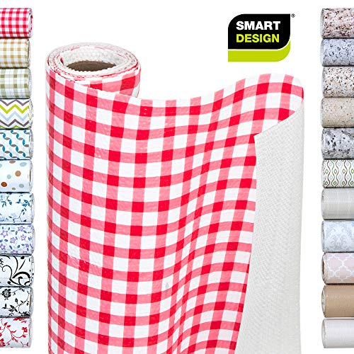 Smart Design Shelf Liner w/Bonded Grip - Wipes Clean - Cutable Material - Non Slip Design - for Shelves, Drawers, Flat Surfaces - Kitchen (12 Inch x 10 Feet) [Ruby Red Gingham]