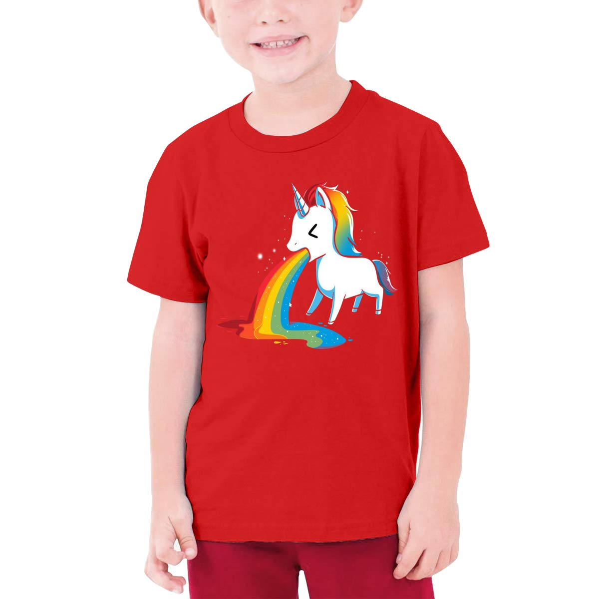 Youth Graphic Tshirts Teenage Boys Girls Short Sleeve T-Shirt Rainbows Unicorn Printed Round Collar T Shirt Tees Tops