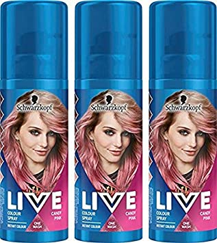 Schwarzkopf Live Color temporal Hair Spray, color rosa, pack de 3
