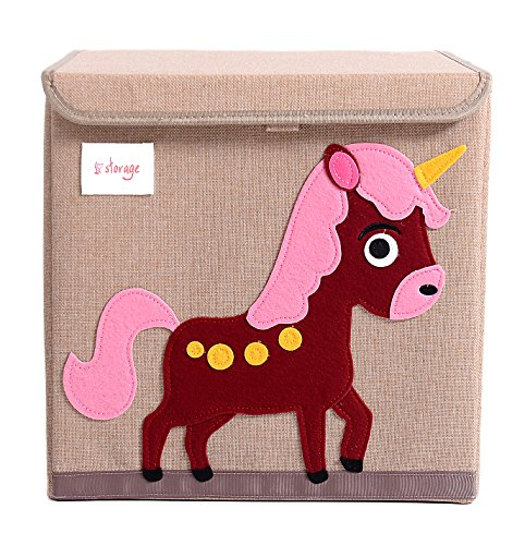 HIYAGON 13''x13''x13''Storage Box/Bin/Cube/Basket/Chest/Organizers with Lids for Bedroom, Nursery, Playroom, Toys, Clothing, Blankets, Books, More(Unicorn) by HIYAGON