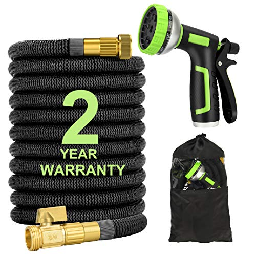 Healon Expandable Garden Water Hose with 10 Pattern Spray Nozzle, Solid Brass Connector, Double Latex Core Expanding Water Hose with Storage Bag (50FT)