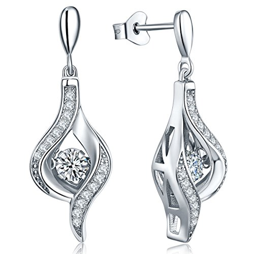 YL Dangle Drop Earrings Sterling Silver Dancing Diamond Cubic Zirconia