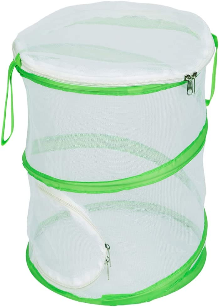 Collectfun Monarch Butterfly Habitat Insect Cage Terrarium Pop-up Caterpillars House with Side Door 12 x 14 inches Tall