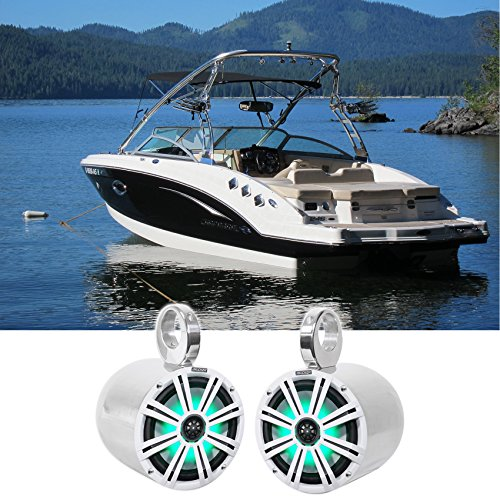 "2 KICKER 45KM84L 8"" 600 Watt Marine Boat Wakeboard Tower Speakers w/LED"