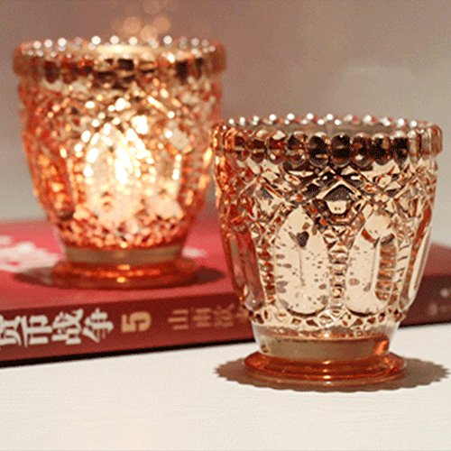 Laugh Cat 1pc Romantic Mercury Glass Candle Holder Votive Candle Holder Tealight Holder For Home Decor Wedding Party Celebration ()