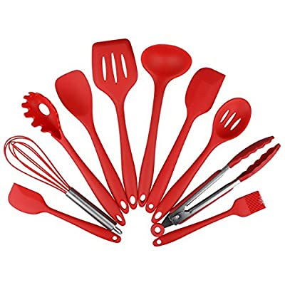 Silicone Kitchen Utensil 10 Piece Cooking Set - Turner,Large Spoonula,Small Spoonula,Basting Brush,Whisk,Pasta Fork,Spoonula,Tong,Slotted Spoon,Ladle, Easy to Use & Clean from Subay