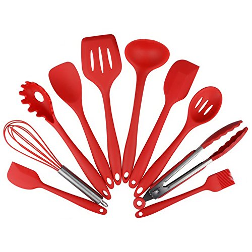 Silicone Kitchen Utensil 10 Piece Cooking Set - Turner,Large Spoonula,Small Spoonula,Basting Brush,Whisk,Pasta Fork,Spoonula,Tong,Slotted Spoon,Ladle, Easy to Use & Clean (Spoonula Large)