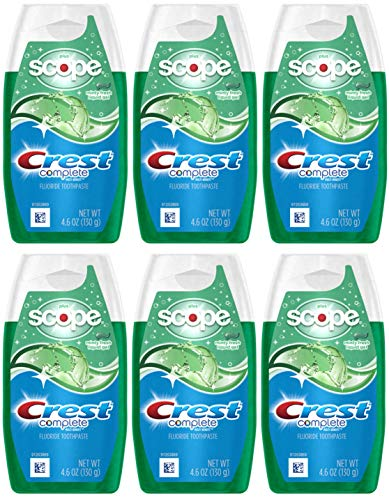 - Crest Complete Whitening Plus Scope Multi-Benefit Fluoride Liquid Gel Toothpaste, Minty Fresh, 4.6 Ounce (Pack of 6)