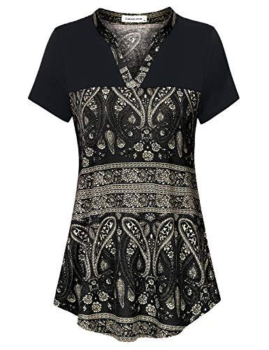 Liamluna Women's Henley V Neck Stitching Color Block Floral Tunic Shirt Black XL