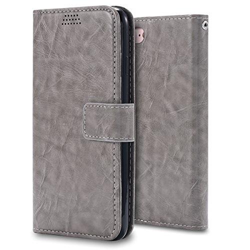 iPhone 7 4.7 inch Hülle, Moonmini® Grau PU Leder Handyhülle Magnetverschluss Brieftasche Lederhülle Tasche mit Standfunktion Card Holder für iPhone 7 4.7 inch