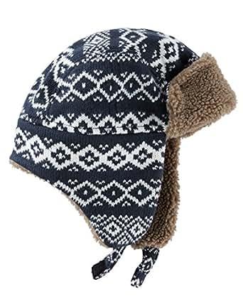 OshKosh Boys Fair Isle Trapper Hat, Dark Blue, 8-14
