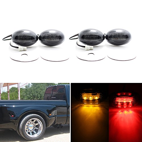 HERCOO Dually Bed Fender Side Marker LED Lights Compatible with Ford Super Duty 1999-2010 Aftermarket Replacement, Full kit, - Light Rear Fender Marker