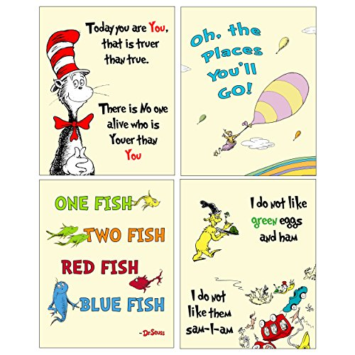 Dr Seuss 4 pack ART Prints - Kids Baby Room Decor (Yellow)