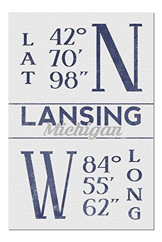 Lansing, Michigan - Latitude and Longitude (Blue) (20x30 Premium 1000 Piece Jigsaw Puzzle, Made in USA!) (Park Lansing Anderson)