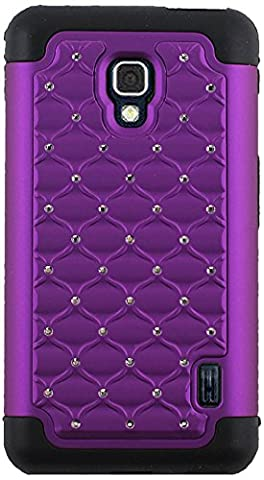 CP 2-In-1 Hard Case and Silicone Diamond Stud Hybrid Case for LG F6 D500 - Non-Retail Packaging - (Lg F6 Silicone Case)