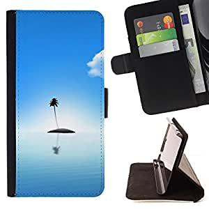 For Samsung Galaxy S6 Edge Plus Palm Tree Lonely Island Ocean Sea Light Blue Style PU Leather Case Wallet Flip Stand Flap Closure Cover
