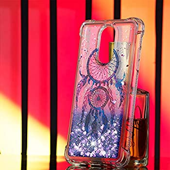 CAIYUNL Case for LG Stylo 4 Case Glitter, LG Q Stylus Case, Liquid Sparkle Bling Shiny Clear TPU Quicksand Shockproof Protective Phone Case Women Men Cover Design for LG Stylo 4 -Purple Aeolian Bells