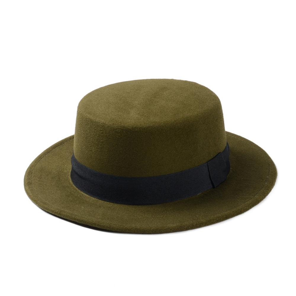 HBR Wool Boater Flat Top Hat Prok Pie Chapeu De Feltro Bowler Gambler Top Hat Women's Felt Wide Brim Fedora Hat Laday