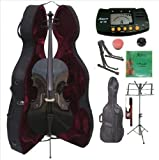 Merano 1/4 Size Black Cello with Hard Case, Bag and Bow+2 Sets of