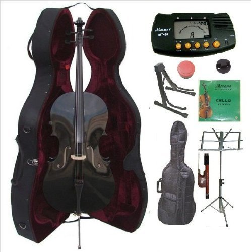 Merano 3/4 Size Black Cello with Hard Case, Bag and Bow+2 Sets of Strings+Cello Stand+Music Stand+Metro - Viola Mute 16