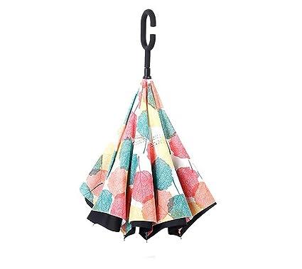 Paraguas y Paraguas en reversa Paraguas sin Manos Paraguas con Protección UV de manija Larga Uso