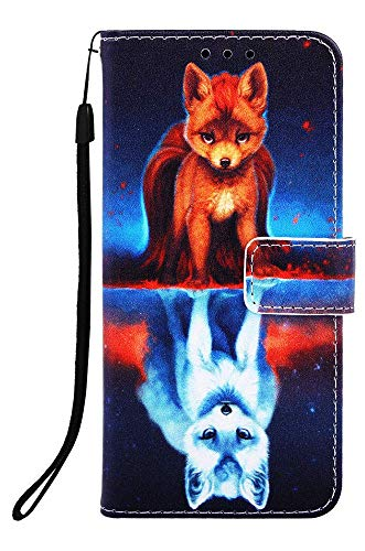 Fox Phone Strap - Wiitop Compatible with Samsung Galaxy S9 Case PU Leather Wallet Phone Case [ Kickstand Wrist Strap ][ Credit Card Slot ] Magnetic Closure Stand Flip Full Body Protective Cover - Fox