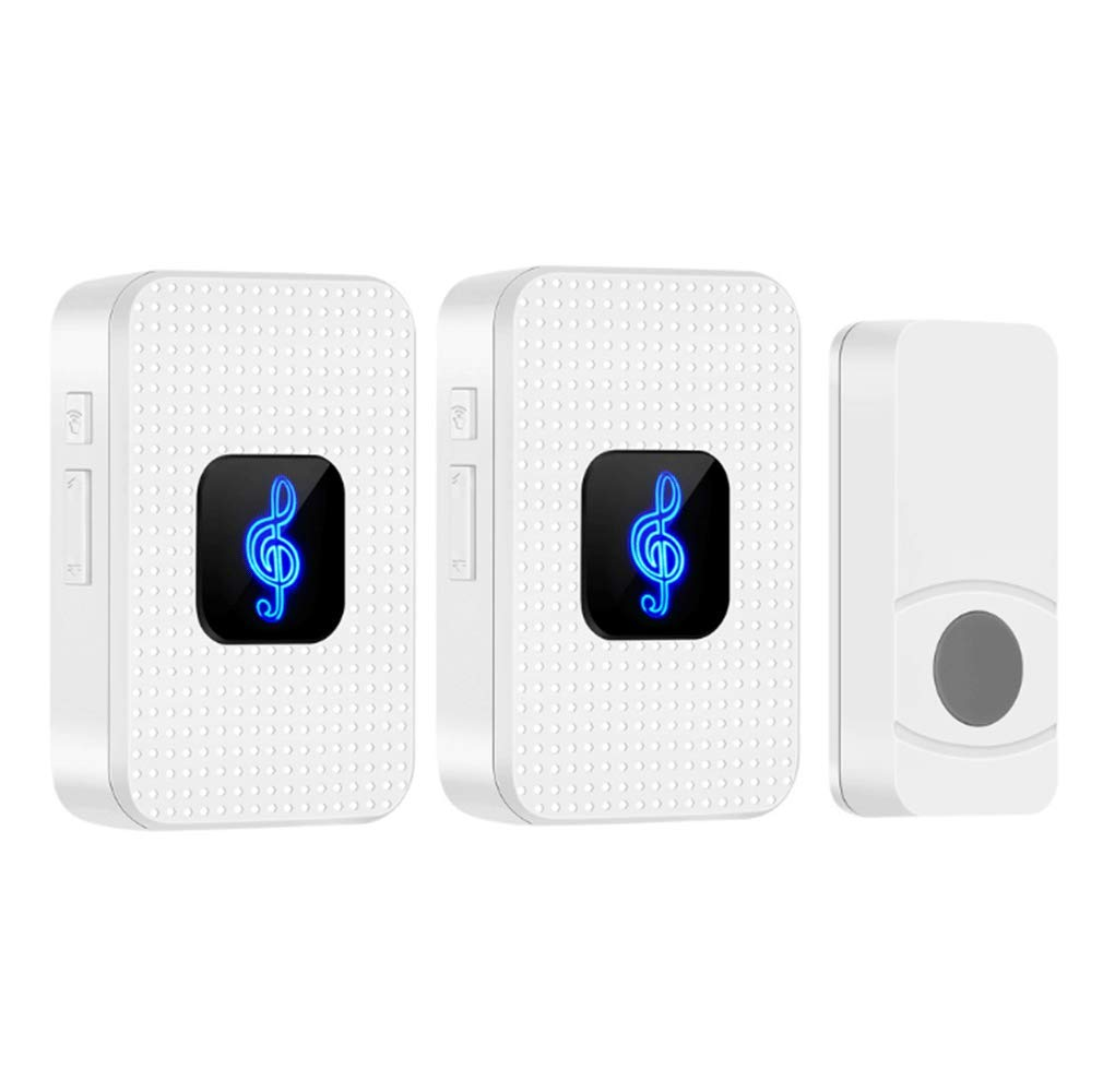 Wireless Doorbell Waterproof Door Bell Kit Operating at 1000-feet Range with 55 Chimes,1 Push Button Transmitter(Battery included)and 2 Plugin Receivers with Sound and LED Flash 5 Levels Volume