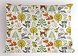 Ambesonne Animals Pillow Sham, Woodland Forest Animals Trees Birds Owls Fox Bunny Deer Raccoon Mushroom Print, Decorative Standard Size Printed Pillowcase, 26 X 20 inches, Multicolor