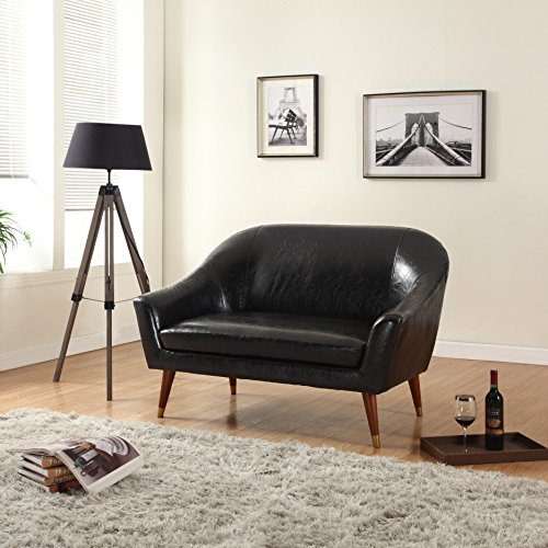 Divano Roma Furniture - Mid Century Modern Loveseat - Bonded Leather