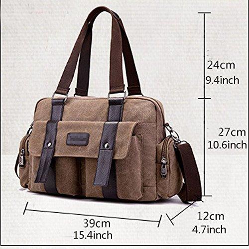 Travel Crossbody Zipped Pocket Bag Shoulder Satchel Outdoor Men's Boy Canvas Messenger Casual Bags Khaki Multi w1xqz4FT
