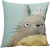 ME COO Vintage Cartoon Blend Decoration Pillow Case Cute Cartoon Totoro cat Cushion Home Sitting Room Office Zipper Decorative Throw Pillows cojines 17 Inches 17 Inches (ME-BZXB-37)