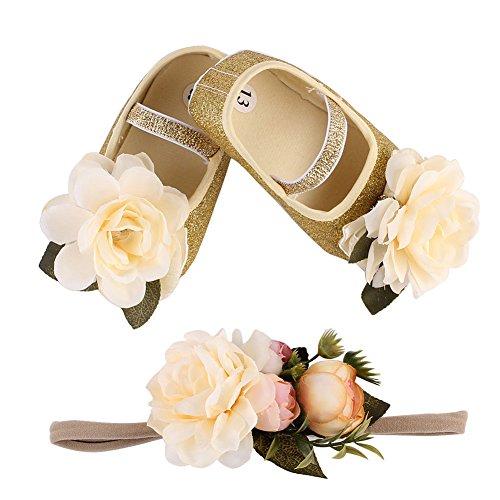 TININNA Baby Mädchen weiche Sohle Blumen Bling Taufe Prewalker Schuhe mit Blumen Stirnband Geschenk Set Gold