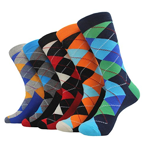 Men's Dress Socks, DTXMX Fashion Colorful Novelty Funny Casual Combed Cotton Crew Socks 5pairs/Set