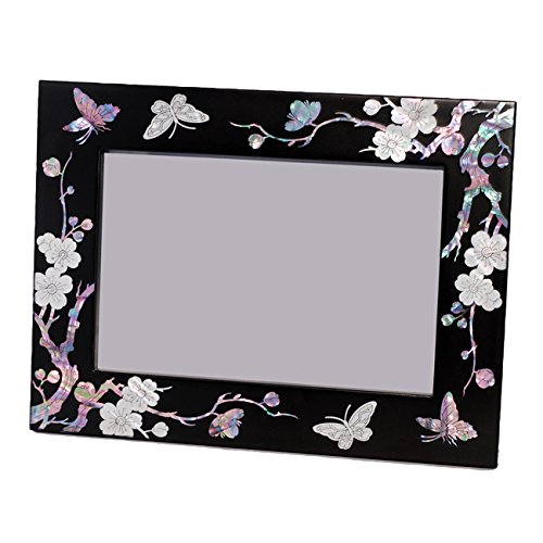 """Mother of Pearl Inlay 4 by 6-inch (4x6"""") Horizontal or Vertical Plum Flower Butterfly Decorative Classic Black Wooden Home Decor Photo Picture Frame"""
