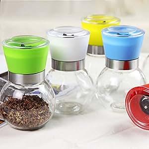 Seasoning Glass Jar Manually Pepper Grinder Kitchen BBQ Supplies (Random Color)