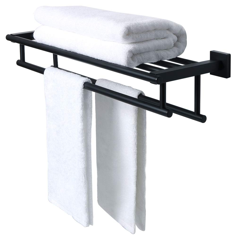 Sayayo Single Towel Bar Towel Rod Wall Mounted 24 Inches, Square Bottom Mode, SUS 304 Stainless Steel Polished Finished, EGK5011