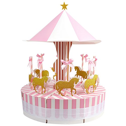 Aytai Carousel Baby Shower Candy Favor Boxes Unicorn Party Supplies Candy Bag Gift Box Table Centerpiece for Wedding Birthday Decorations (Pink) (Stand Unicorn)