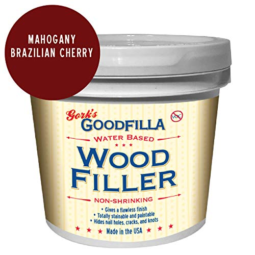 Water-Based Wood & Grain Filler - Mahogany - 1 Gallon by Goodfilla | Replace Every Filler & Putty | Repairs, Finishes & Patches | Paintable, Stainable, Sandable & Quick Drying