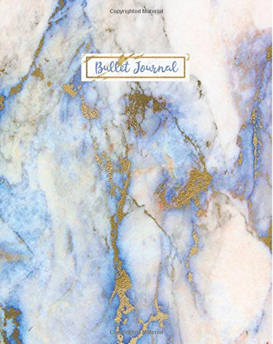 Bullet Journal: Blue Marble Gold Ocean, 160 Dot Grid Pages, 8 x 10 Blank Bullet Journal Notebook with 1/4 inch Dotted Paper, Perfect Bound Softcover