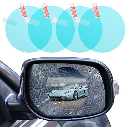 4 PCS Car Rear view Mirror Rainproof Film, Foseal Drive Safely in the Rain HD Clear Anti-Fog Nano Coating waterproof Films Anti-scratch Protector for SUV Car Mirrors Side Windows, Round (3.74x3.74)