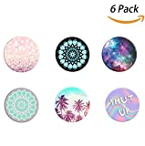 #8: Evermarket Premium Expanding Stand Pop Out Grip Mount Anti-Fall Holder Sockets for iPhone X, Galaxy S9,all Cellphones and Tablets,Electroplating Color (6 Pack Style 2)