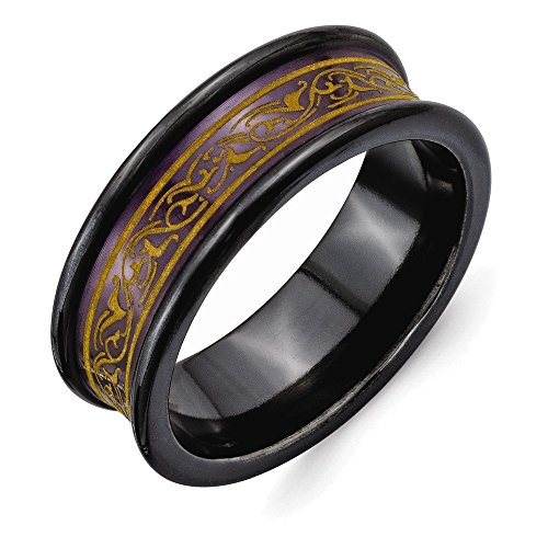 Jewelry Adviser Rings Titanium Black Ti Concave Anodized Brown w/Pattern Lasered 8mm Band Size (Brown Pattern Ring)