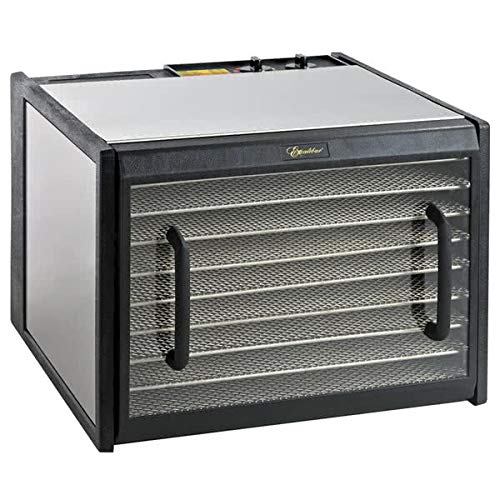 Excalibur D900CDSHD 9-Tray Electric Food Dehydrator with Clear Door for Viewing Progress Features 26-Hour Timer Temperature Settings and Automatic Shut Off Made in USA, 9-Tray, Silver