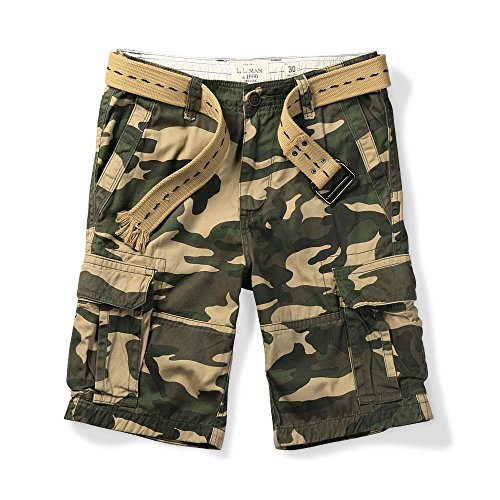 MUST WAY Men's Multi Pocket Slim Fit Cotton Twill Cargo Shorts 703# MC155 Camo 31 by MUST WAY